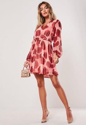 Missguided Pink Rose Print Wrap Mini Dress
