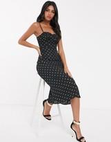 Fashion Union tie cami strap corset dress in allover gold dot