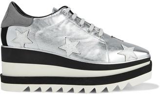 Stella McCartney Sneak-elyse Appliqued Metallic Faux Leather Platform Sneakers