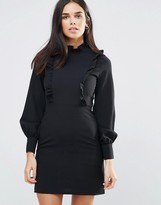 Oh My Love High Neck Dress With Frill Trims