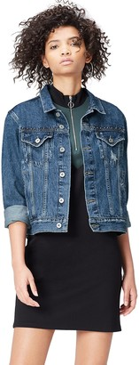 Find. Amazon Brand Women's Biker Print Denim Jacket