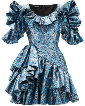 Germanier - Ruffled Upcycled Brocade Mini Dress - Womens - Blue Silver