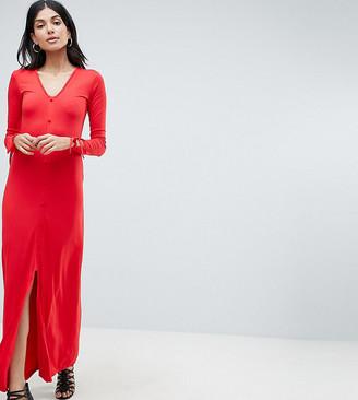 Asos Tall ASOS DESIGN Tall maxi tea dress with self covered buttons