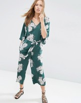 Asos Belted Satin Jumpsuit with Kimono Sleeve in Floral Print