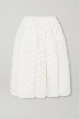 Cecilie Bahnsen Sophie Bille Brahe Tina Appliqued Mesh Midi Skirt - White