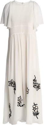 Chloé Embroidered Silk-georgette Maxi Dress