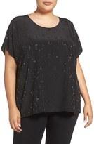 Eileen Fisher Plus Size Women's Falling Star Beaded Silk Scoop Neck Tee