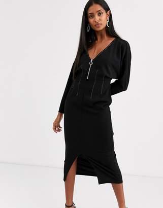 Asos Design DESIGN long sleeve zip front midi dress in black