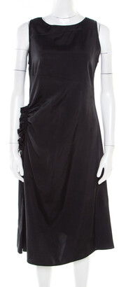 Bottega Veneta Black Asymmetric Ruffle Draped Sleeveless Shift Dress S