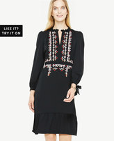 Ann Taylor Long Sleeve Embroidered Dress