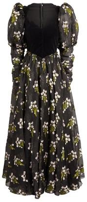 Sandra Mansour Ruffled Floral Midi Dress
