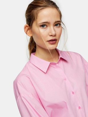 Topshop Poplin Ruched Back Blouse - Pink