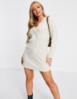 ASOS DESIGN super soft long sleeve ribbed mini wrap dress in taupe