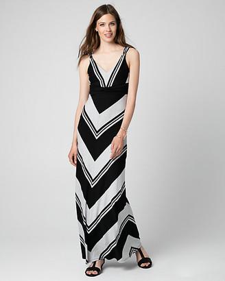 Le Château Stripe Jersey V-Neck Maxi Dress