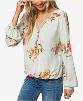 O'Neill Juniors' Bella Printed Lace-Up Surplice Top