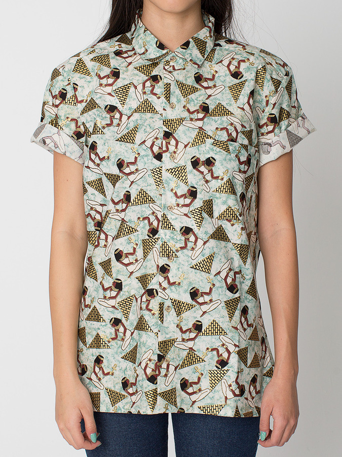 American Apparel Unisex Printed Cotton Short Sleeve Button-Up With Pocket