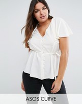 Asos Tea Blouse With Button Front And Cape Back