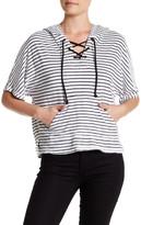 Michael Stars V-Neck Lace-Up Hooded Stripe Sweatshirt