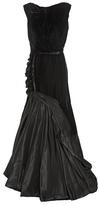 Oscar de la Renta Velvet And Silk Satin Gown