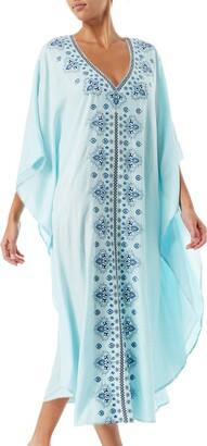 Bsubseach Women Coffee Ethnic Print Kaftan Maxi Dress Half Sleeve Open Side Beach Dress Long Cover Up