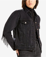 Levi's Limited Ex-Boyfriend Fringe-Trim Cotton Trucker Jacket, Created for Macy's