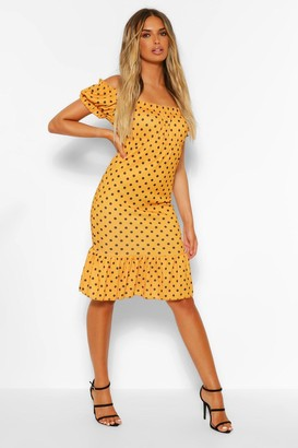 boohoo Polka Dot Rib Ruffle Hem Dress