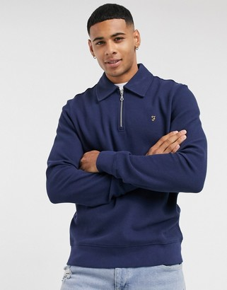 Farah Spon half-zip sweatshirt in blue