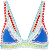 Kiini Tuesday Crochet-trimmed Triangle Bikini Top - Azure