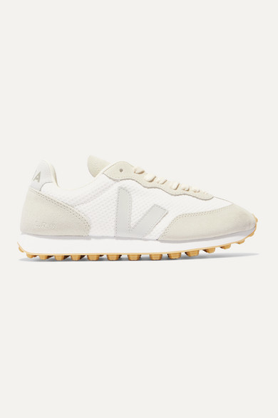 Veja + Net Sustain Rio Branco Leather-trimmed Mesh And Suede Sneakers - White