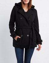 Charlotte Russe Fleece Double-Breasted Hooded Peacoat