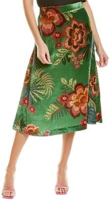 Farm Rio Artisanal Floral Velvet Midi Skirt