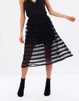 Miss Selfridge Pleated Net Midi Skirt