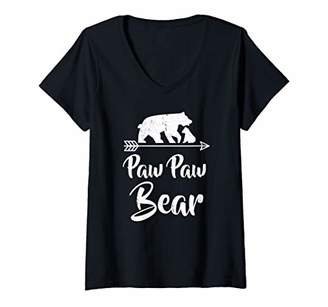 Womens Paw Paw Bear Matching Family Christmas Costume V-Neck T-Shirt