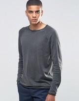 Selected Sweatshirt with Raglan Sleeve and Raw Hem Detail