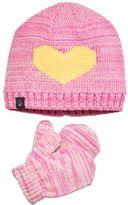 Cuddl Duds Toddler Girl Heart Beanie & Mittens Set
