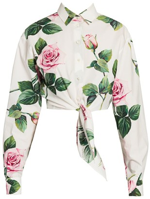Dolce & Gabbana Cropped Tie-Front Rose Blouse