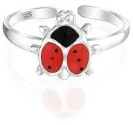 Bling Jewelry Red Black Ladybug Shape Garden Midi Band Toe Ring Silver Sterling