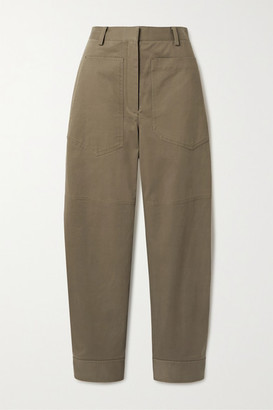 Tibi Myriam Cotton-blend Twill Tapered Pants - Army green