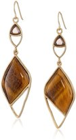 Barse Tiger'S Eye with Smoky Quartz Accent Statement Drop Earrings