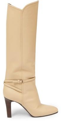 Saint Laurent Buckle-strap Knee-high Leather Boots - Cream