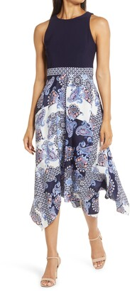 Vince Camuto Sleeveless Handkerchief Hem Midi Dress