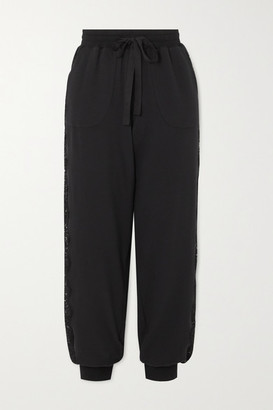 I.D. Sarrieri After Hours Lace-paneled Stretch Cotton-blend Jersey Track Pants - Black