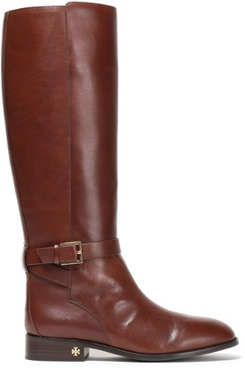 Tory Burch Buckle-detailed Leather Knee Boots