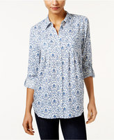 Style&Co. Style & Co. Mixed-Print Roll-Tab Shirt, Only at Macy's