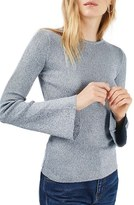Topshop Women's Salt & Pepper Flute Sleeve Top