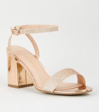 New Look Wide Fit Glitter Strap Mid Heel Sandals