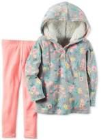 Carter's Girls Baby Playwear Legging Fleece Sherpa Hoodie 2 Piece Set GryPnk 12M