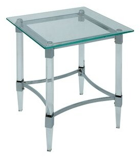 Rosdorf Park Missouri Contemporary Glass Top Square End Table