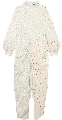 Joseph Fay Ruched Printed Devore Silk-blend Chiffon Midi Dress