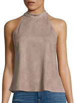 Design Lab Lord & Taylor Faux Suede Halter Top